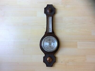 Vintage Wooden Banjo Style Barometer with Thermometer