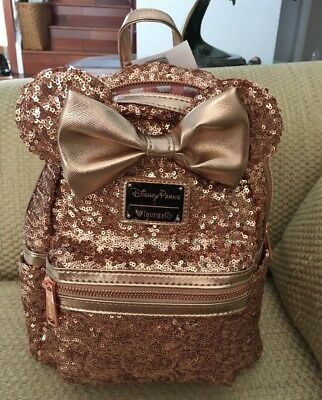 Nwt Disney Parks Loungefly Minnie Mouse Rose Gold Backpack Sequin Purse Sold Out