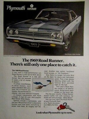 1969 Plymouth Road Runner Beep Beep 1 Place To Catch Original Print Ad 9 x 11""