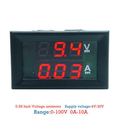 DC 100V 10A Voltmeter Ammeter Blue + Red LED Dual Digital Volt Amp Meter Gauge;
