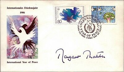 Margaret Thatcher orig signierter Brief 1986 FDC Year of Peace Ersttag (D-2196