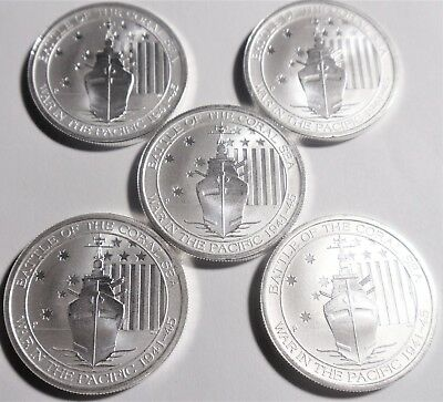 (Lot of 5 coins) 2015 1/2 oz Australian Battle Of The Coral Sea Silver Coin (BU)