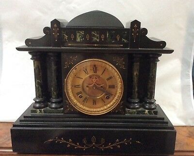 Quality Large Ansonia Slate Mantle Clock _ Much Nicer Than Usual And One Ower !