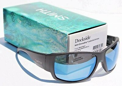 f4014dfdd6 SMITH OPTICS Dockside POLARIZED Sunglasses Matte Black Blue Mirror  ChromaPop NEW