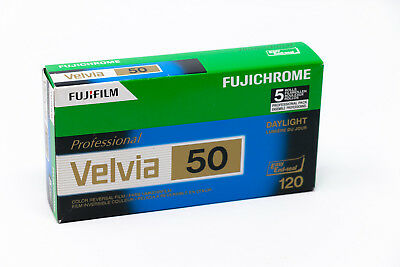 5 rolls of 120 Fujichrome Velvia 50 slide film (out of date)