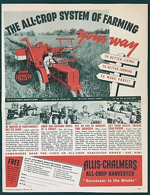 1938 ALLIS CHALMERS ALL CROP HARVESTER Advertisement.  Large original & vintage.