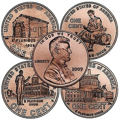 Complete Lincoln Bicentennial 2009 Cent Pennies Set, P & D Mint, FREE Shipping