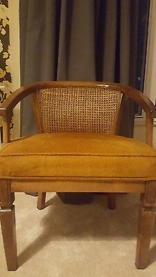 Pair bergere cane/wicker backed tub armchairs