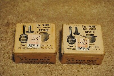 """8 NOS Vintage ACME Ball Bearing 3/4"""" Flange Casters Schatz Co. in Boxes"""