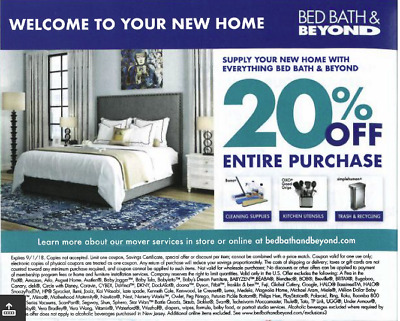 BED BATH&BEYOND 20%OFF ENTIRE PURCHASE - Instore or Online deal Expires in Sep1