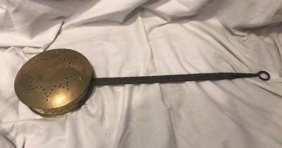 Vintage Retro Antique Brass Bed Warmer Warming Pan Embossed    attguy