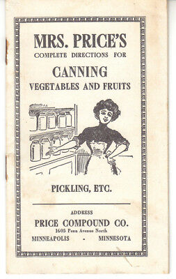 Early Canning Booklet, Mrs. Price's directions for canning