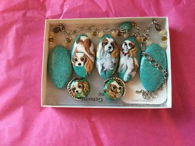 Cavalier King Charles Hand Painted Necklace & Earrings Set