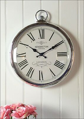 Pocket Watch Wall Clock Silver Kensington Station Roman Numerals Chrome