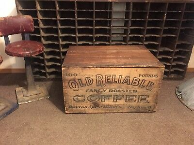 Original Country General Store Old Reliable Coffee Crate Box Antique Advertising