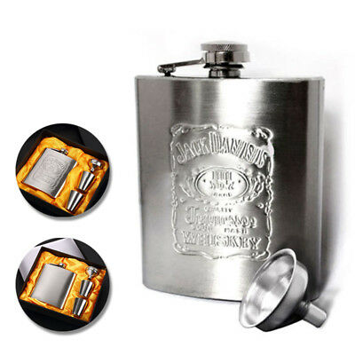7OZ Portable Stainless Steel Hip Flask Liquor Whisky Alcohol Pocket With Funnel