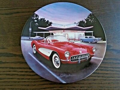 George Angelini - 1957 Red Corvette FABULOUS CARS OF THE FIFTIES collector plate