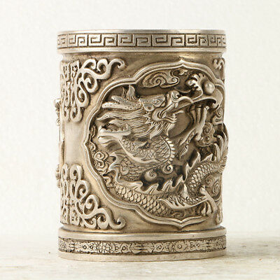 Chinese Silvering Copper Dragon Brush Pot Made During The Da Ming Xuande  GL244