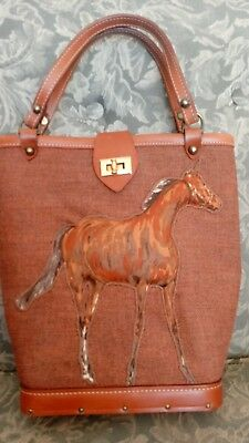 "Horse Hand Bag Purse Leather Straps Wood Base Canvas Body Puffy 15"" tall"