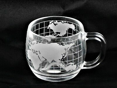 Nestle Nescafe Etched World Map Colonial Cupboard ITD Glass Coffee Cup 1970s