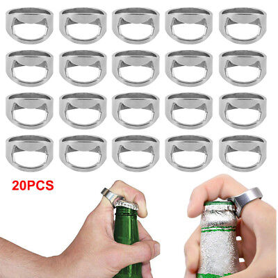 Hot SALE!20pcs Stainless Steel Finger Ring Bottle Opener Thumb Beer Bar Tool NEW