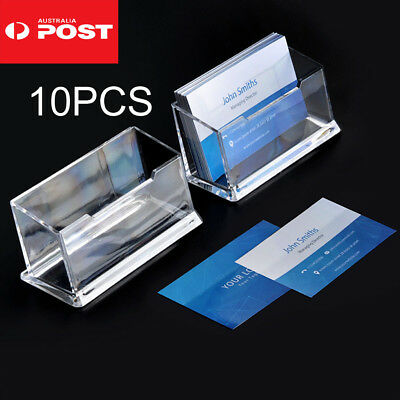 10 X Clear Desktop Business Card Holder Display Stand Plastic Desk