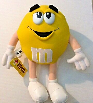 "M&M Yellow Plush Medium Soft 14"" Male Official Mars M and M Product Vintage 1997"