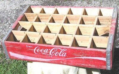 "RED WOODEN ""ENJOY"" COCA-COLA COKE CASE, CRATE with 24 BOTTLE SLOTS,  NICE!"