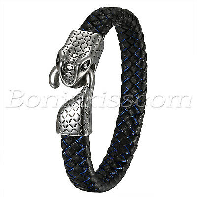 Mens Biker Braided Leather Bracelet Stainless Steel Snake Head Clasp Bangle Cuff