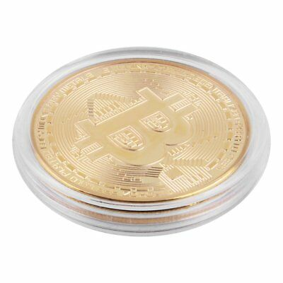 10Pcs Gold Plated Physical Bitcoins Casascius Bit Coin BTC Souvenir Coin w/ Case
