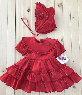 NOS Vintage Red Toddler Dress And Bonnet