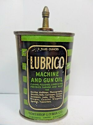 VINTAGE RARE 1930-40's LUBRICO GUN AND MACHINE OIL TIN CAN HANDY OILER LEAD TOP