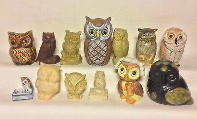 "1-3.5"" Vintage Ceramic And Carved Stone Owl Figurines Lot Mexico Japan 2B"