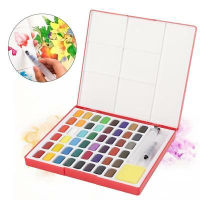 48 Colors Art Drawing Solid Watercolor Pigments Paints Set Paint Box with Brush