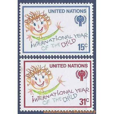 Timbre collection ONU New-York N° Yvert et Tellier 302/303 Neuf sans charnière