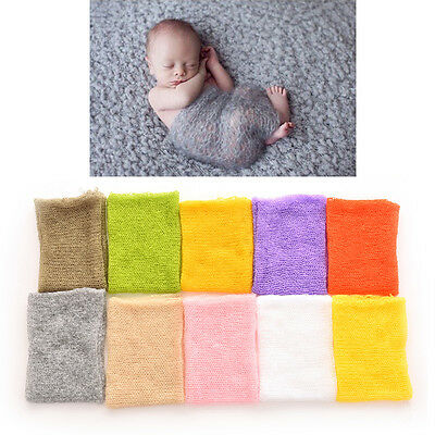 Newborn Baby Mohair Crochet Knit Wrap Cloth Photography Props Baby Photo BDAU