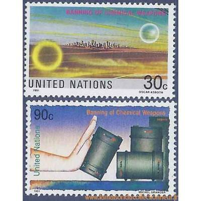 Timbre collection ONU New-York N° Yvert et Tellier 593/594 Neuf sans charnière