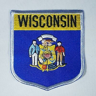 Wisconsin State Patch - Embroidered Shield Flag Crest Badge - United States USA