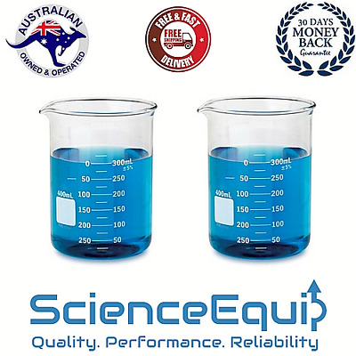 Glass Beaker Kit Graduated Research Grade Borosilicate, 500ml x 2