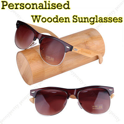 Personalised Custom Bamboo Wooden UV400 Lenses Sunglasses Groomsmen Xmas Gift a