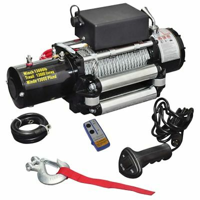 12V 13000 LBS Wire Rope Electric Winch 26m with Mounted Bracket Wireless Remote