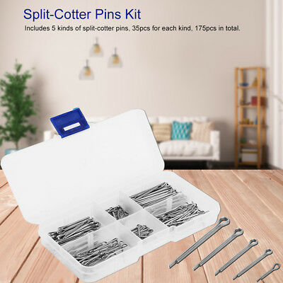 175pcs 5 Kinds Zinc Alloy Split-Cotter Pins Assortment Kit Fastener Hardware