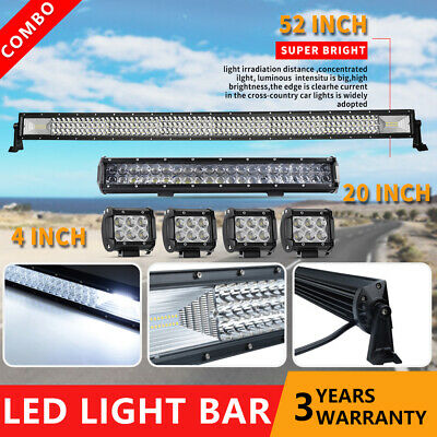 """50Inch Curved LED Light Bar + 22in + 4"""" CREE Pods Offroad SUV ATV Ford Jeep 52"""""""