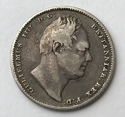 Dated : 1834 - Silver Coin - Sixpence - 6d - King William IIII - Great Britain