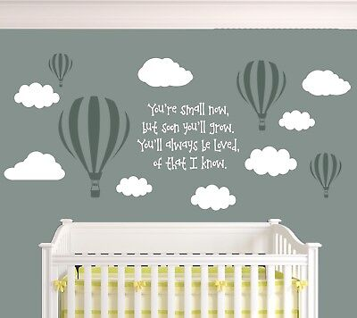 Kids You'll always be Loved Nursery Balloons Clouds & Quote Wall Decal Stickers