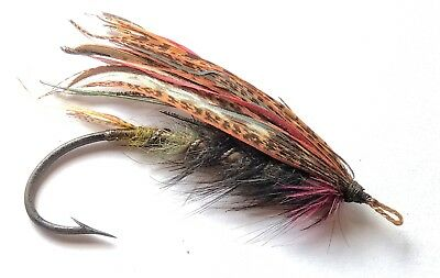 Vintage BLACK DOSE Salmon Fly GUT EYE Size 8/0 Iron Hook Rare Fly Fishing Flies