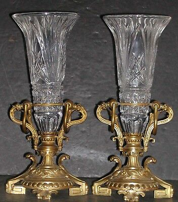 Pair Antique Ormolu Brass Aesthetic Empire Eastlake Crystal Trumpet Vase Stand