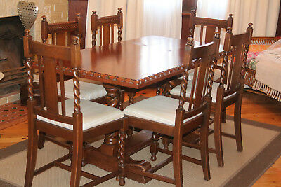 Jacobean Dining Table With 6 Chairs 180 00 Picclick Au