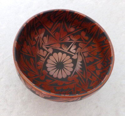 "Mata Ortiz signed bowl Baudel Corona red black floral 6"" Mexico pueblo art pot"