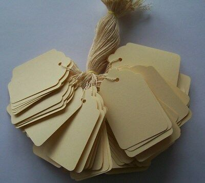 100 Cream Strung Labels 69Mm X 44Mm Swing Tickets Price Tags